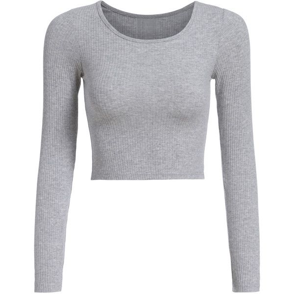 Long Sleeve Crop Grey T-shirt ($8.90) ❤ liked on Polyvore featuring tops, t-shirts, shirts, crop tops, cropped, grey, t shirts, long sleeve shirts, crop tee and polyester t shirts