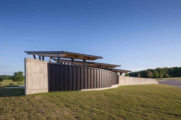 horizontal variety, reasonable operations-safe materials, gestural (Arkansas State Veterans Cemetery at Birdeye / Fennell Purifoy Architects)