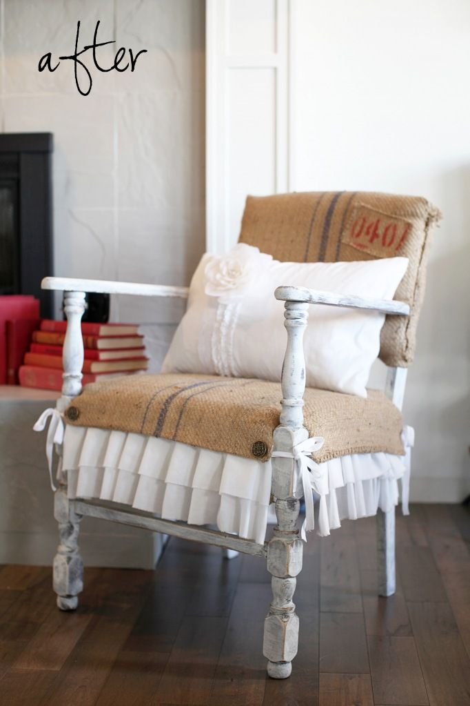 I love this vintage chair covered in burlap (with ruffles no less!)  This just makes my brain start spinning.