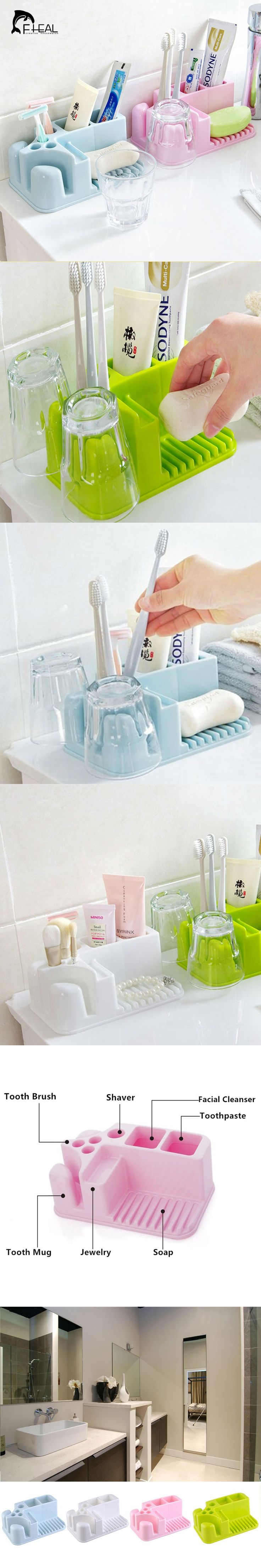 Multifunction Rectangle Kitchen Bathroom Shower Storage Box Toothbrush Toothpaste Tooth Mug Cleanser Cosmetic Organization Shelf
