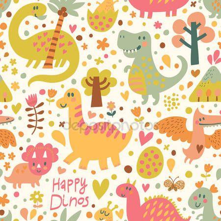 divertidos dinosaurios en dibujos animados vector de patrones sin ...