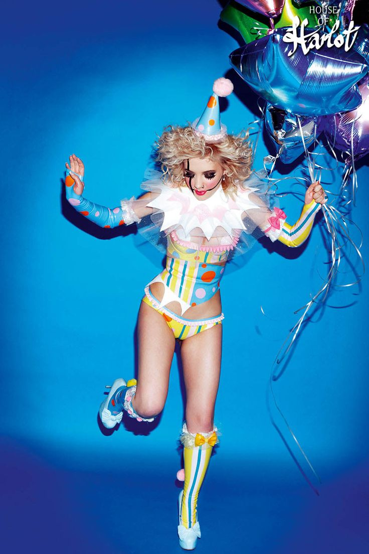 Clown Latex Rubber Circus Costume by HOUSEofHARLOT on Etsy #sexy #clown #circus #latex #outfit #running #holding #balloons