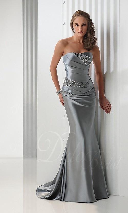 Beaded Sheath Strapless Sweep Trian Satin Prom Dress