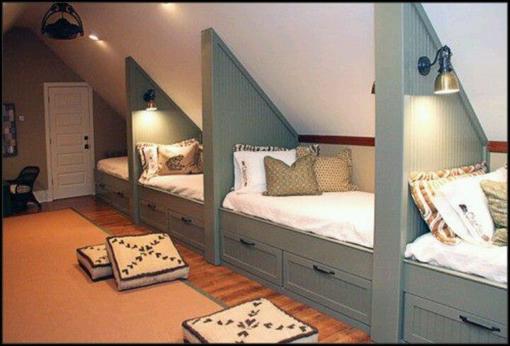 Attic space with slanted ceilings great idea!