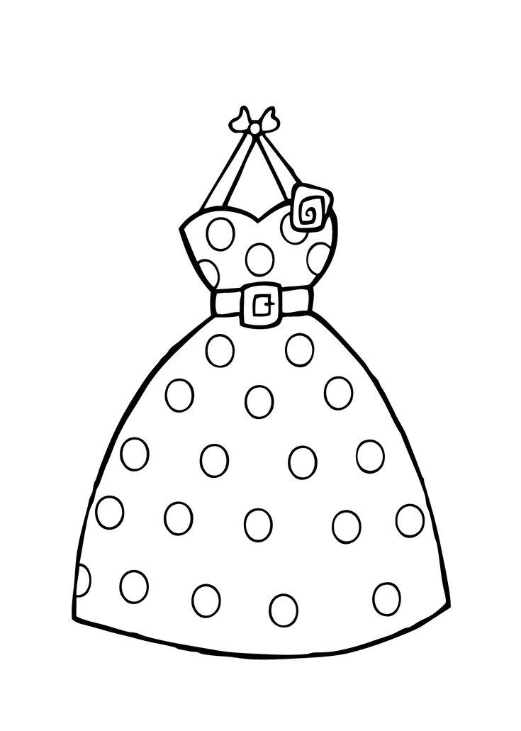 dress polka dot coloring page for girls printable free