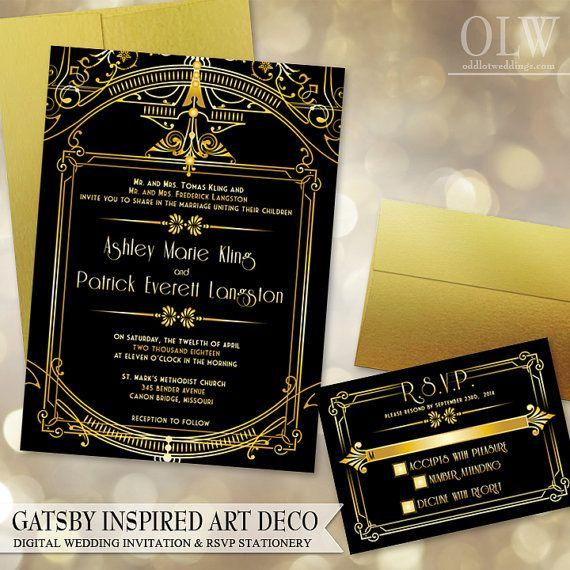 Gatsby Art Deco Wedding Invitation and RSVP card - Digital Files - Gold and Black Architectural $40.00 Via ODD WEDDINGS www.oddlotweddings.com