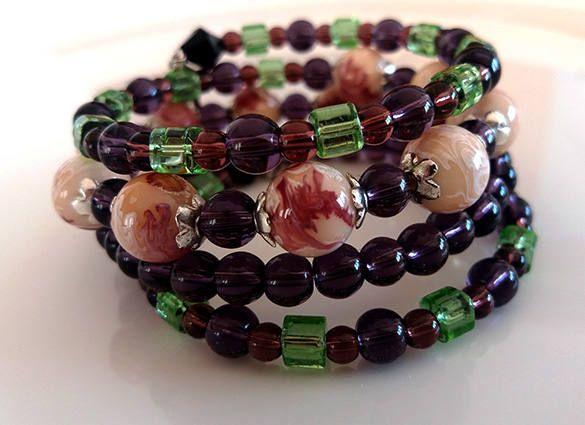 Elegant Dark Purple Glass Bead Memory Wire Bracelet; One Size Everyday Coil Bracelet Art Deco Style https://www.etsy.com/listing/543107972/elegant-dark-purple-glass-bead-memory