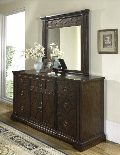 Villa Madrid Dresser and Mirror Set by Somerton. $1190.07. Beveled glass. Dry/damp cloth only on furniture, no oil based cleaners. Ornate Diamond Grill Overlay Decorates Drawer And Door Fronts. Seven Drawers, And Two Doors With A Shelf Behind. Antique brass hardware. The beautiful styling of this romantic Mediterranean-influenced collection is reflected in the combination of veneers, using white oak, mapa burl and walnut inlay. Note: This is only the Villa Madrid Dresser and...