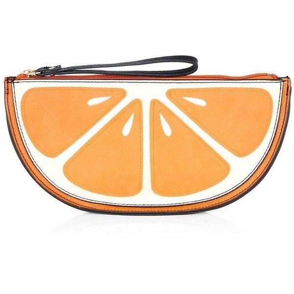 Orange Fruit Clutch (90 MXN) ❤ liked on Polyvore featuring bags, handbags, clutches, orange, orange clutches, faux leather purse, orange purse, faux leather handbags and vegan handbags