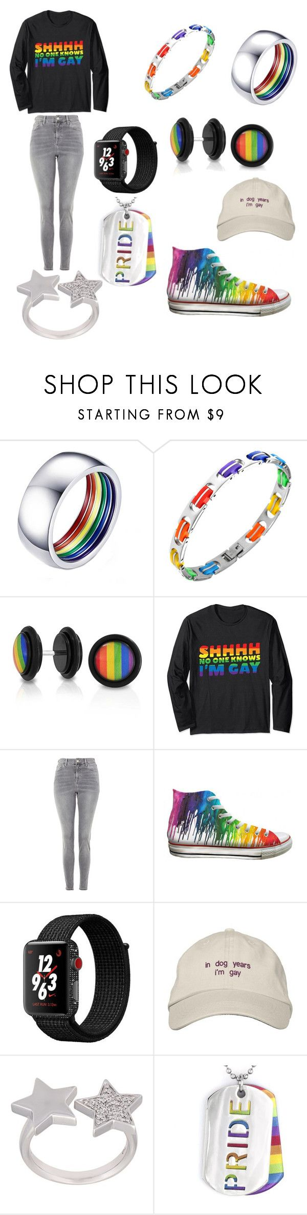 """""""The gayest gay to ever gay"""" by yanyssa-augustu on Polyvore featuring Rainbow, Bling Jewelry, Topshop, Converse, NIKE, Alinka and West Coast Jewelry"""