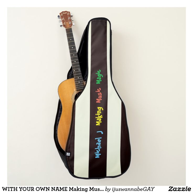 WITH YOUR OWN NAME Making Music Magic Acoustic/Electronic Guitar Bags, with Black and Off White stripes, and your name printed onto the Guitar Bag. ADD YOUR OWN NAME with quick easy name changer template. Making Music Magic Guitar Bag, with lots of pockets and space for all your other stuff. Fits most standard size acoustic/electronic guitars Extra-rugged polyester shell, dense inner padding on all sides, Wide padded backpack straps for extra comfort Large and small back pockets. $66.92