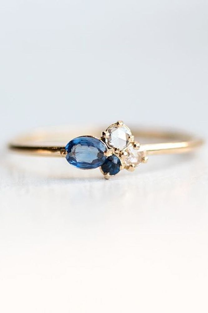 cheap engagement rings sapphire and rose cut white diamond in rose gold