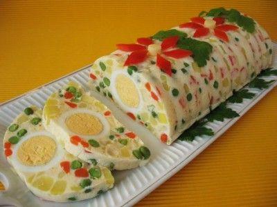 Majonézes saláta tojással formában dermesztve