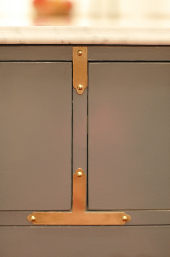 "brass hardware w/ Rustoleum gloss ""smoke gray"""