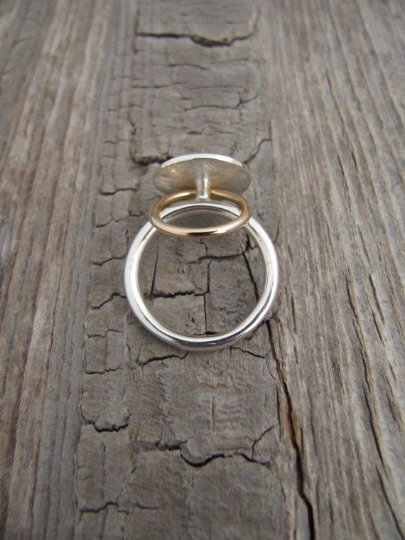 RING LANA in sterling silver with mobile gold ring by ATELIEREPURE