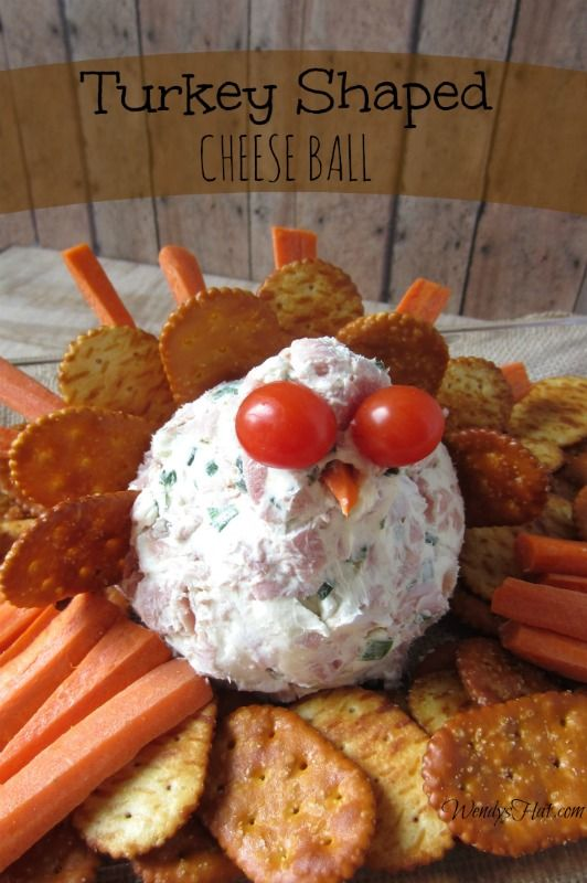 Turkey Shaped Cheese Ball Recipe would be perfect for your Thanksgiving Table!