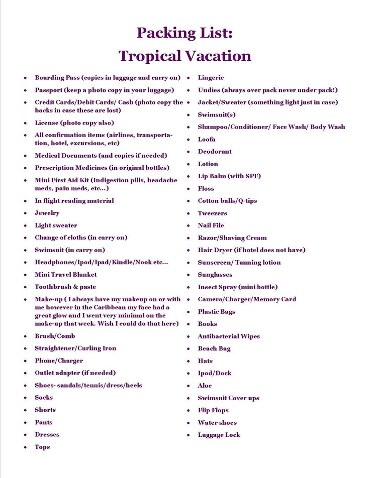 Vacation Packing Checklist Packing Kids For Vacation Part Free