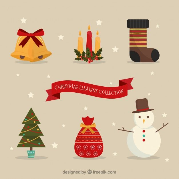 Christmas elements in flat design #Free #Vector