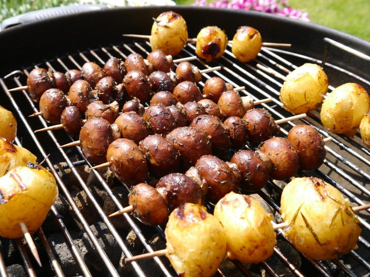 Grillbeilagen – Champignons und Kartoffeln   – Grillen