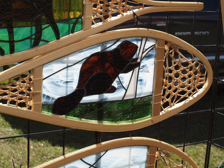 stained glass snowshoe creation, Haliburton arts and crafts show, 2012