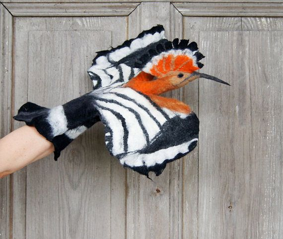 This amazing Hoopoe Bird,, hand puppet waits to be adopted by you!!! Its made from natural wool in wet felting process only with using hot water and
