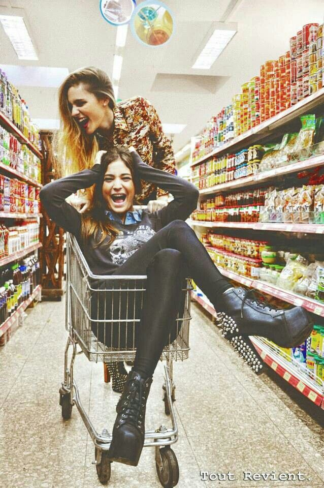 Being pushed around in a shopping cart!(: