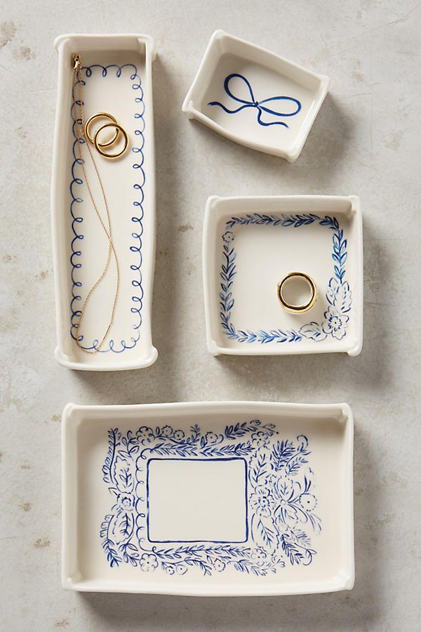 Slide View: 1: Indigo Illustration Trinket Dish
