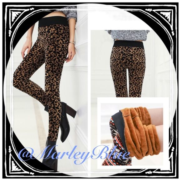 ⭐️Warm Plush Lined Velour Leopard Leggings ⛄️ Super cute & trendy! Thick & warm leopard print leggings. Inside and outside is a plush velvety/velour material. Available S,M. These run very small and don't have a lot of stretch to them..so size up! I would suggest size small if you are XS/S; if you are a true small I would go with medium.☃SALE is $15..normally $20. Pants Leggings