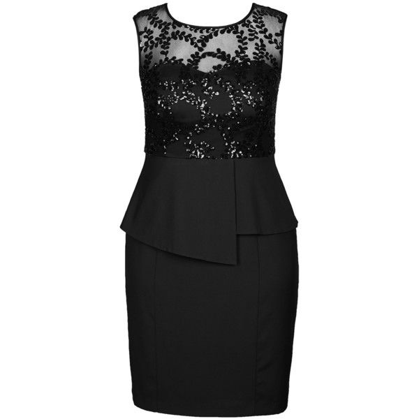 City Chic Sequin Prom Peplum Sheath Dress ($104) ❤ liked on Polyvore featuring dresses, plus size, sequin dress, plus size pencil dress, sheath dress, pencil dress and sweetheart prom dresses