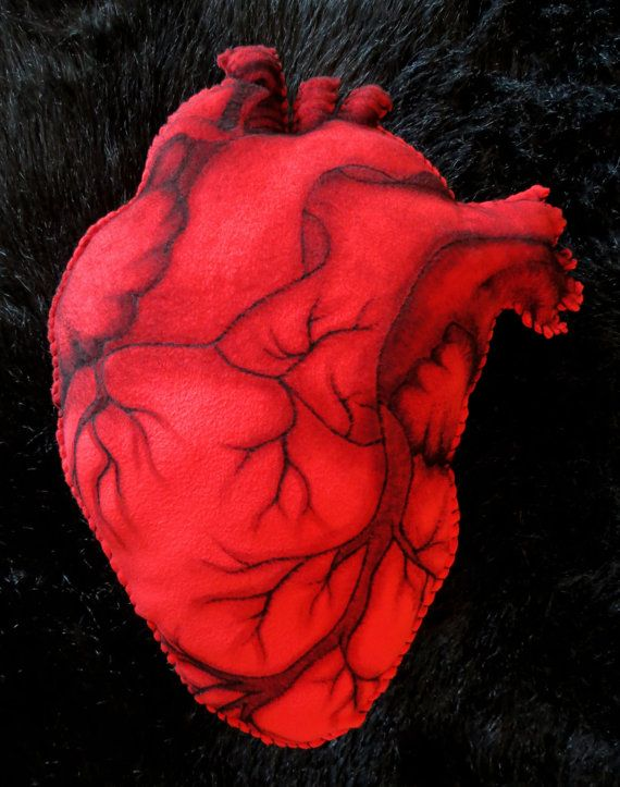 Anatomical Heart - Hand Painted Large Cushion. MEASURES APPROX. 50cm x 40cm.