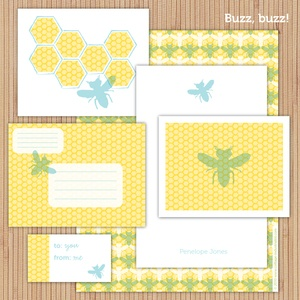 BuzzBuzz personalized stationery suite (printable)