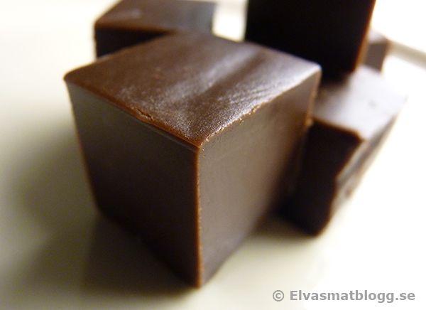 Recept på mörk chokladfudge - kolarecept med choklad
