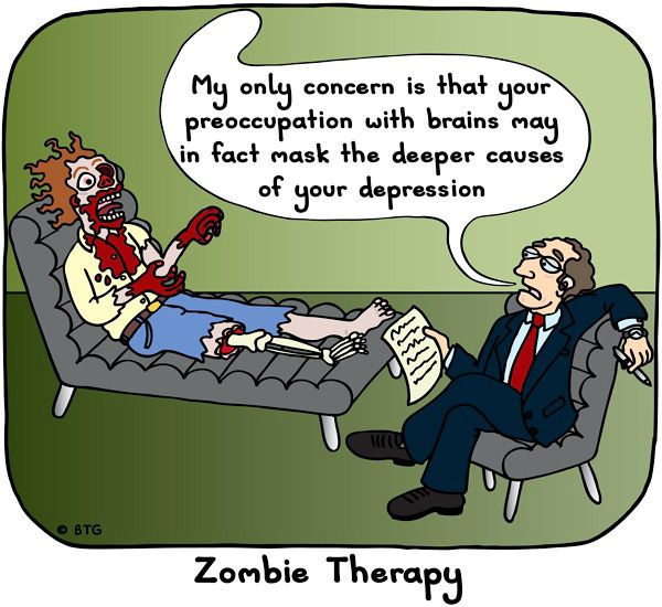 Zombie therapy.: Brains Zombies, Funny Humor, Depressed Zombie, Zombie Therapy
