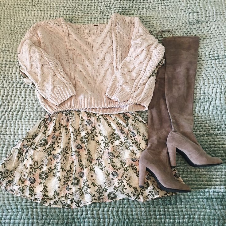 pair a chunky sweater with a dress and oak boots!