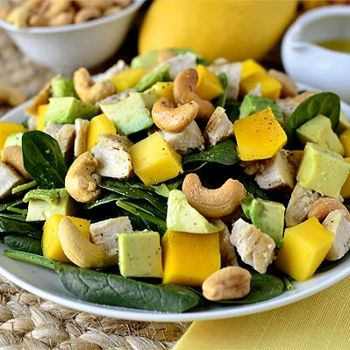 Cashew Chicken Mango Salad - with avocado.  Chicken glazed with lime juice and honey, cooked and cubed.