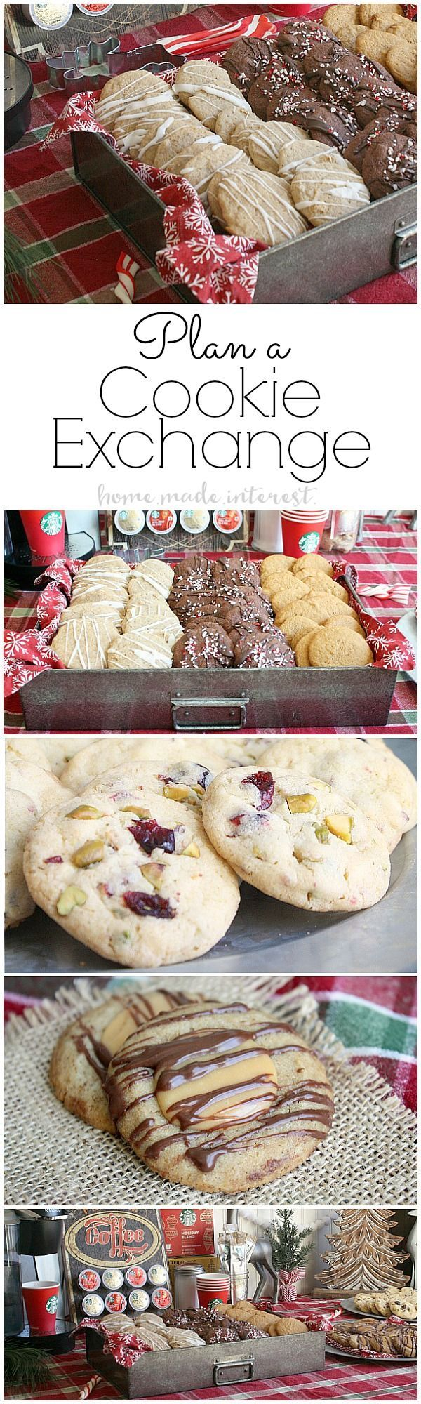A cookie exchange is a fun way to share holiday cookie recipes. This is what you need to know to plan and host a cookie exchange, and a bonus Starbucks Caramel Macchiato cookie recipe! #MakeItMerrier #holidays #ad