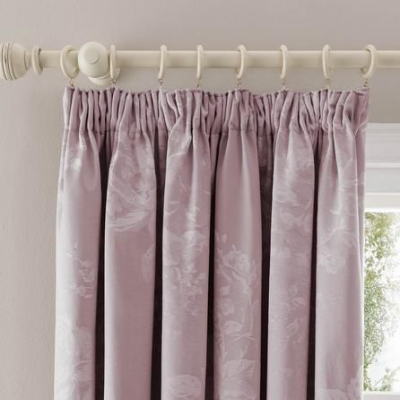 Dunelm Floral Stylish Mauve Purple Laura Blackout Pencil Pleat Curtains
