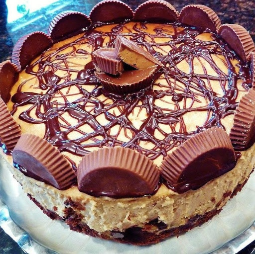 Peanut Butter Cup Brownie Bottom Cheesecake