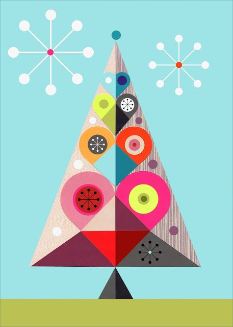 a modern christmas tree illustration by Ellen Giggebach