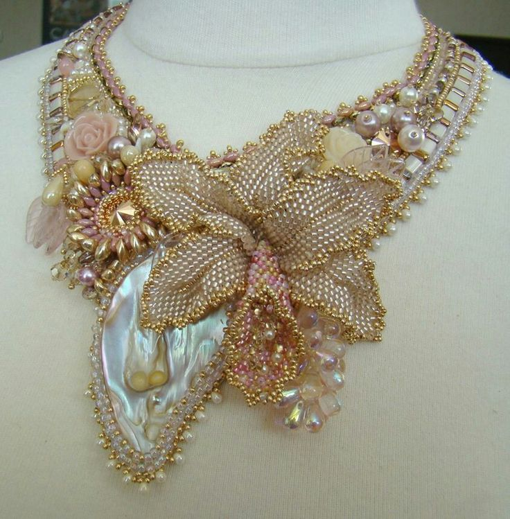 Bead embroidery necklace.