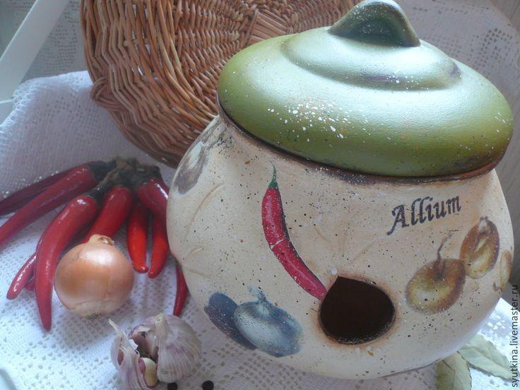 Купить Крынка для лука и чеснока - Керамика, глиняный горшок, керамический горшок, декупаж заготовка