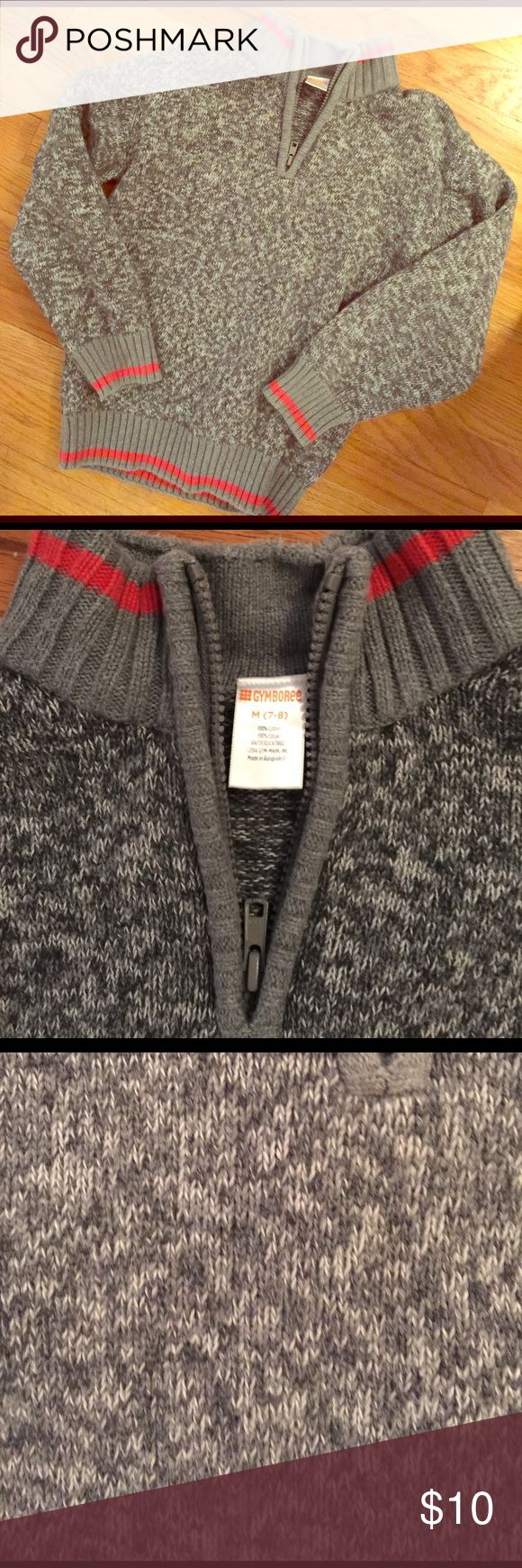 Boys 7/8 heather gray cotton sweater Boys 7/8 Cotton sweater. Heather gray and red trim. Awesome for school photos. Easy to wear and wash. Clean and gently used. No years or stains or snags. Gymboree Shirts & Tops Sweaters