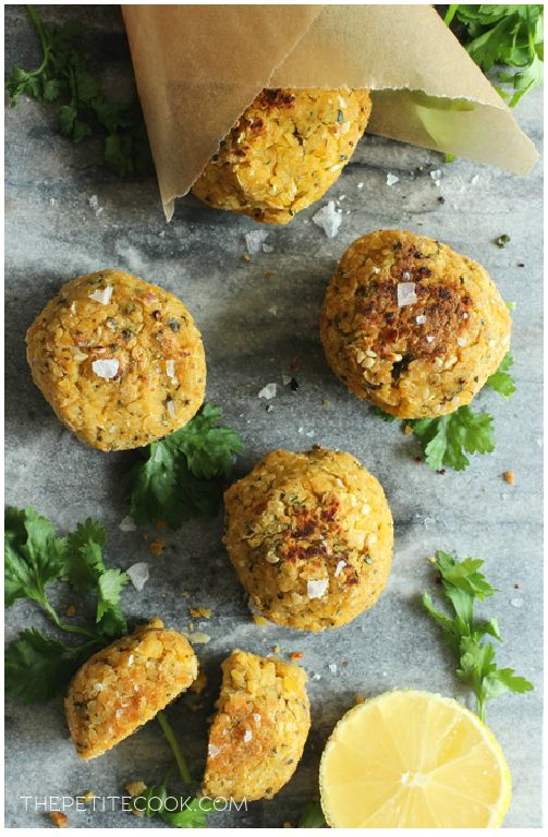 Healthy Awesome Baked Falafel - Golden-brown and crispy on the outside, fluffy melt-in-your-mouth and aromatic within, once you taste falafel it's impossible to live without. Naturally Vegetarian and Vegan Recipe by The Petite Cook