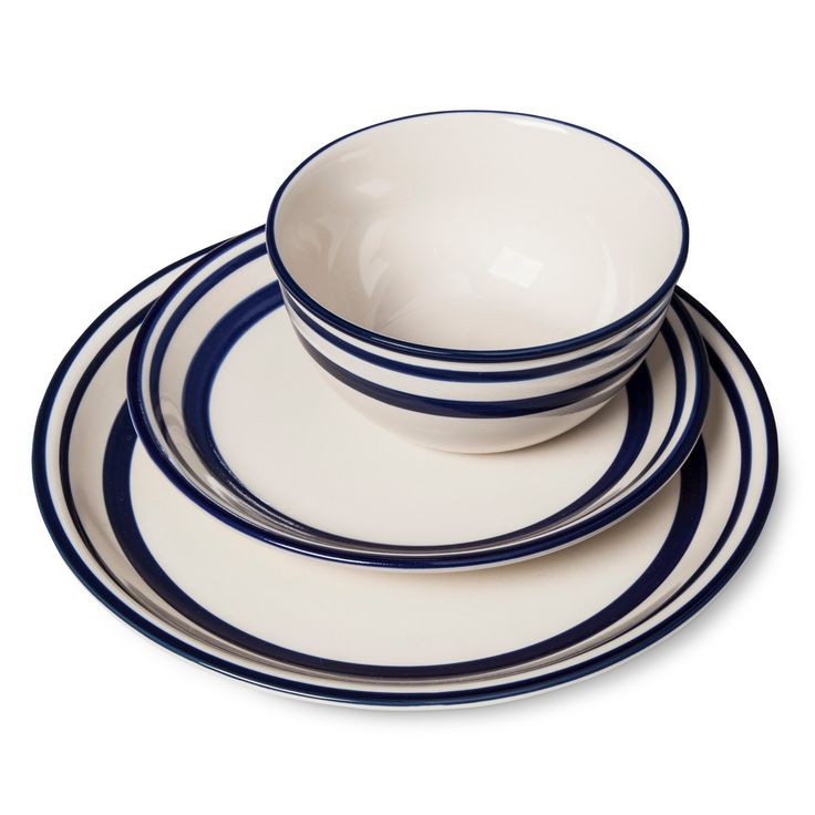 • Ceramic stoneware with a classic enamelware look<br>• Hand-painted blue details<br>• Heirloom quality<br>• 12-piece set<br>• Mixes and matches with other Beekman 1802 FarmHouse dinnerware<br><br>The Fremont Dinnerware 12-pc. Set from Beekman 1802 FarmHouse is inspired by classic blue and white enamelware and French linen stripes. Simple and versatile, it includes dinner plates, salad plates and bowls that bring...