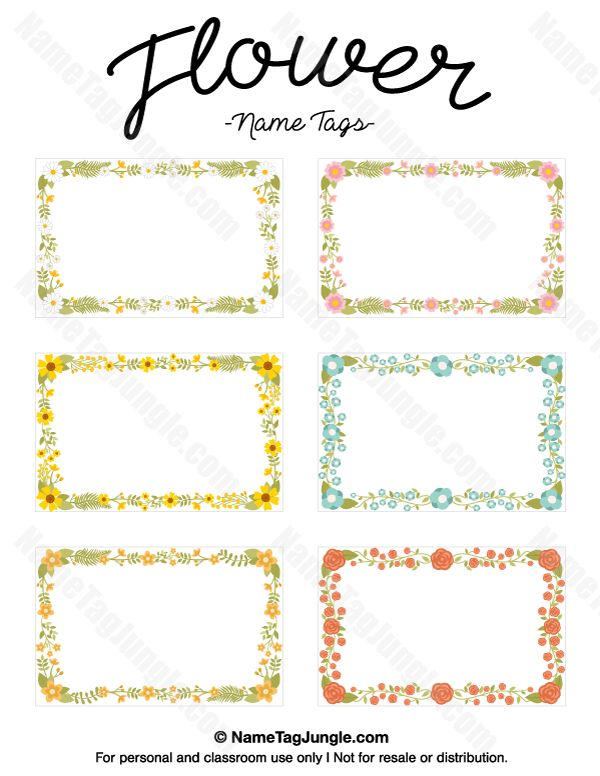 Free printable flower name tags the flowers include roses for Free name badge template