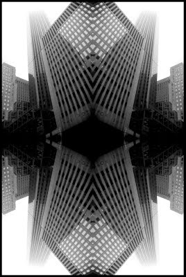 #toronto #fog #skyscrapers #buildings #reflection #black and white