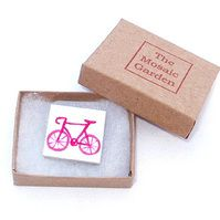 Pink Bicycle Brooch