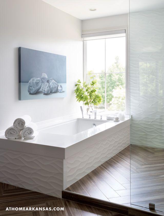 master tub white bath textured tile wood tile white bath details