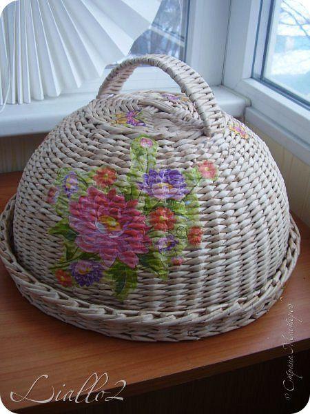 Поделка изделие Плетение Хлебницы шкатулки Трубочки бумажные фото 1