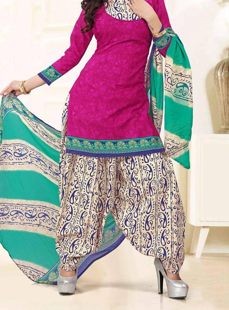 Magenta Cotton Patiala Suit 86567